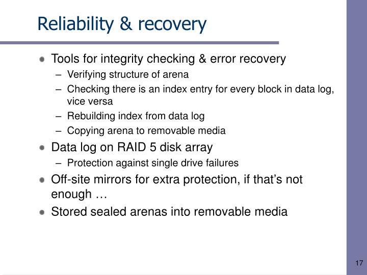 Reliability & recovery