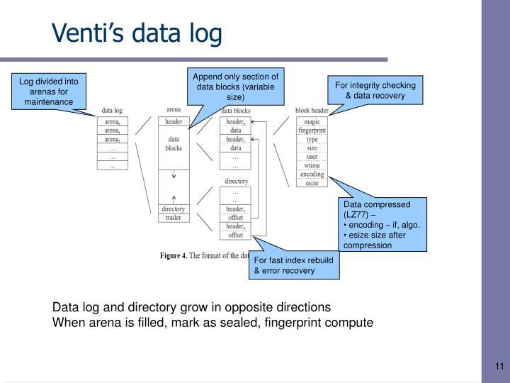 Venti's data log