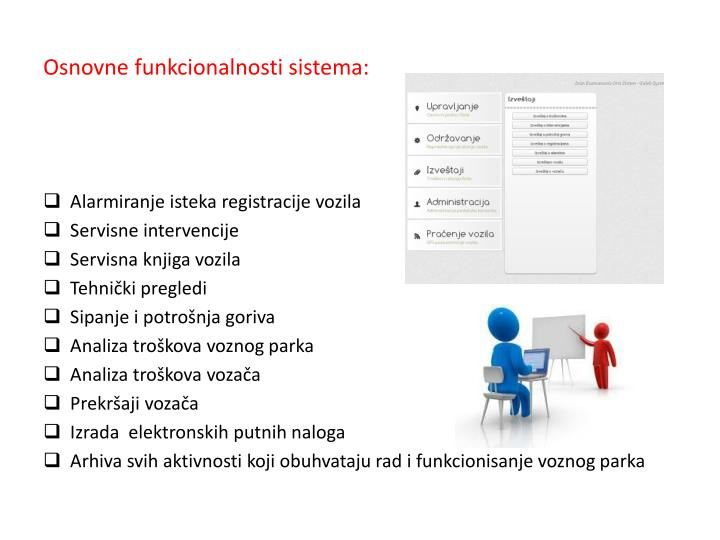 Osnovne funkcionalnosti sistema: