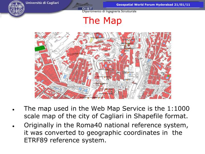 The map used in the Web Map Service is the 1:1000 scale map of the city of Cagliari in Shapefile format.