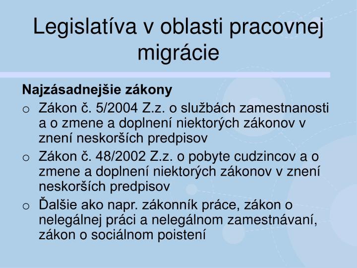 Legislatíva v oblasti pracovnej migrácie