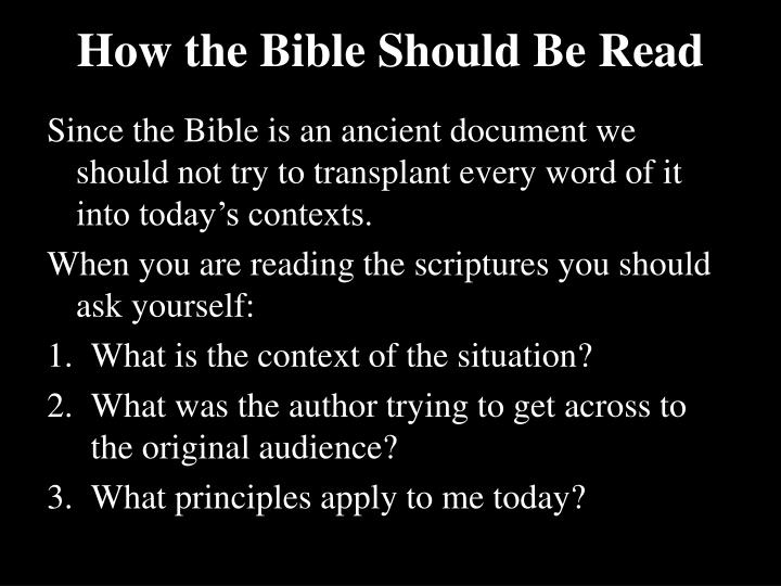 How the Bible Should Be Read