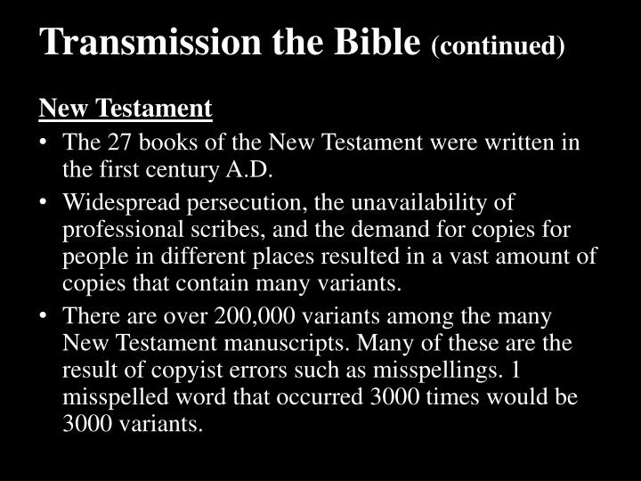 Transmission the Bible