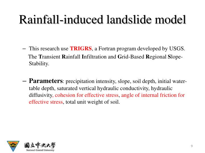 Rainfall-induced landslide model