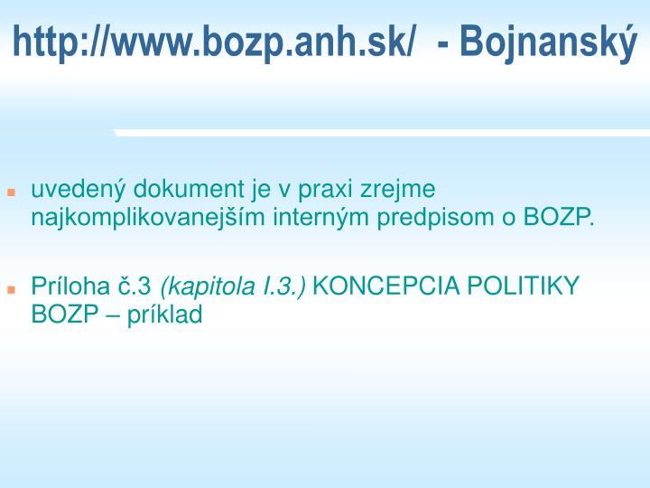 http://www.bozp.anh.sk/  - Bojnansk