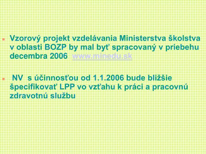 Vzorov projekt vzdelvania Ministerstva kolstva v oblasti BOZP by mal by spracovan v priebehu decembra 2006