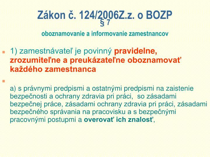 Zkon . 124/2006Z.z. o BOZP