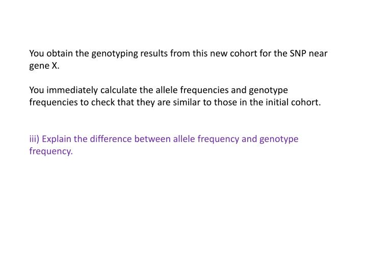 You obtain the genotyping results from this new cohort for the SNP near gene X.