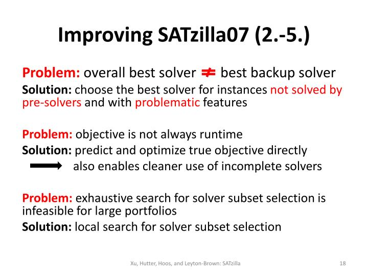 Improving SATzilla07 (2.-5.)