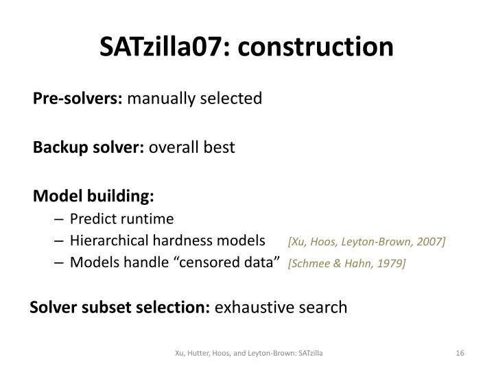 SATzilla07: construction