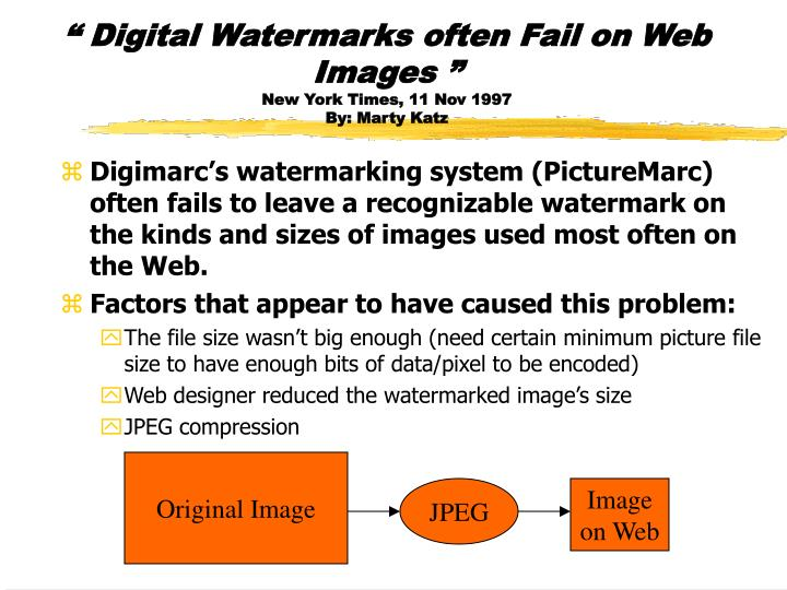 """ Digital Watermarks often Fail on Web Images """