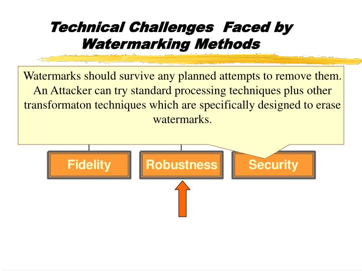 Technical Challenges  Faced by Watermarking Methods