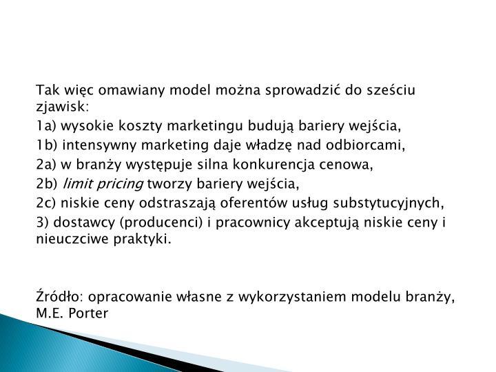 Tak więc omawiany model można sprowadzić do sześciu zjawisk: