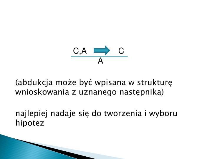 (abdukcja może być wpisana w strukturę wnioskowania z uznanego następnika)