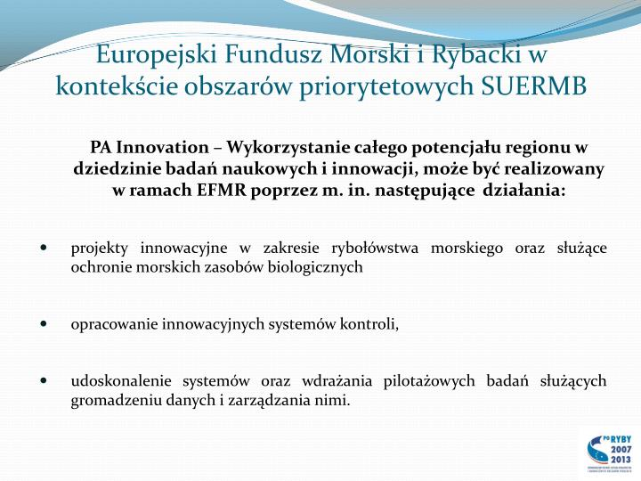 Europejski Fundusz Morski i Rybacki w kontekście obszarów priorytetowych SUERMB