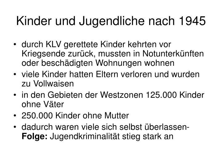 Kinder und Jugendliche nach 1945