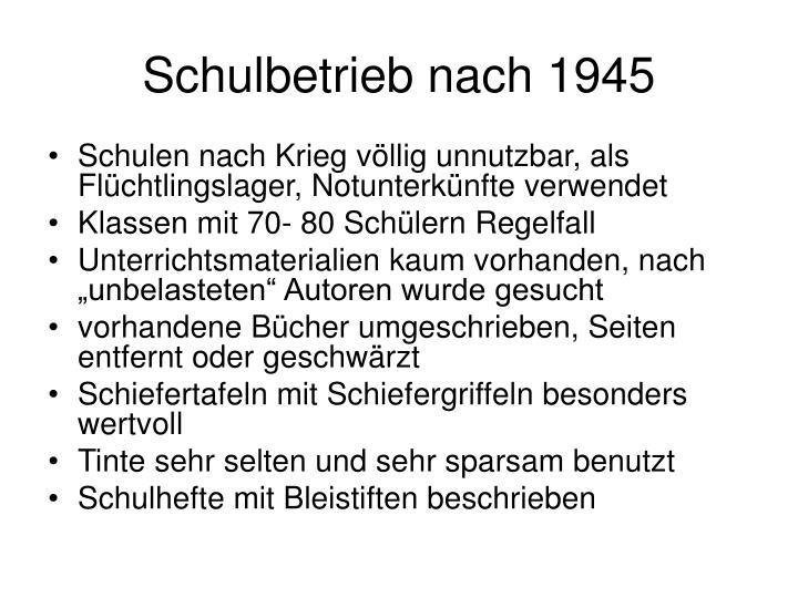 Schulbetrieb nach 1945