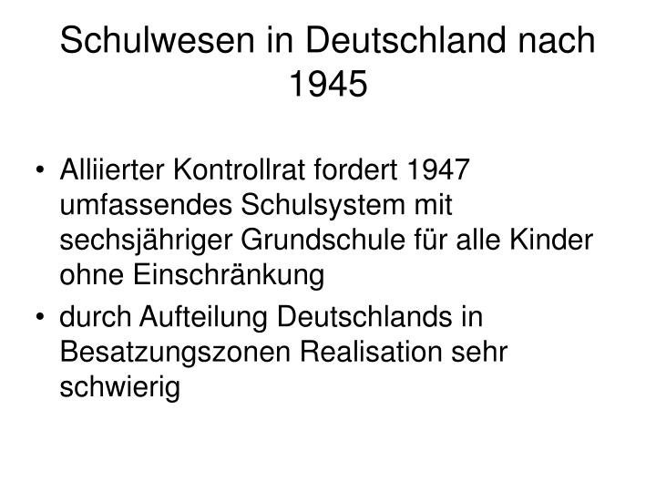 Schulwesen in Deutschland nach 1945
