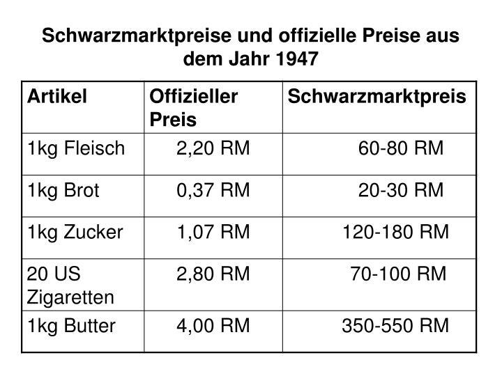 Schwarzmarktpreise und offizielle Preise aus dem Jahr 1947