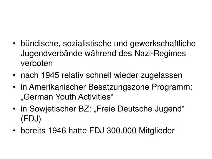 bündische, sozialistische und gewerkschaftliche Jugendverbände während des Nazi-Regimes verboten