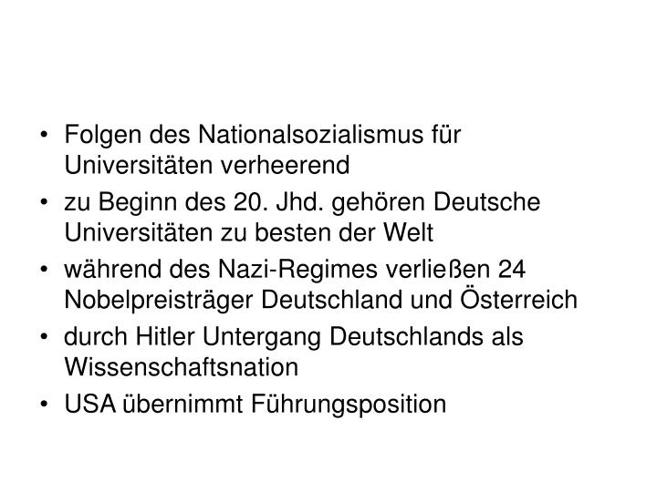 Folgen des Nationalsozialismus für Universitäten verheerend