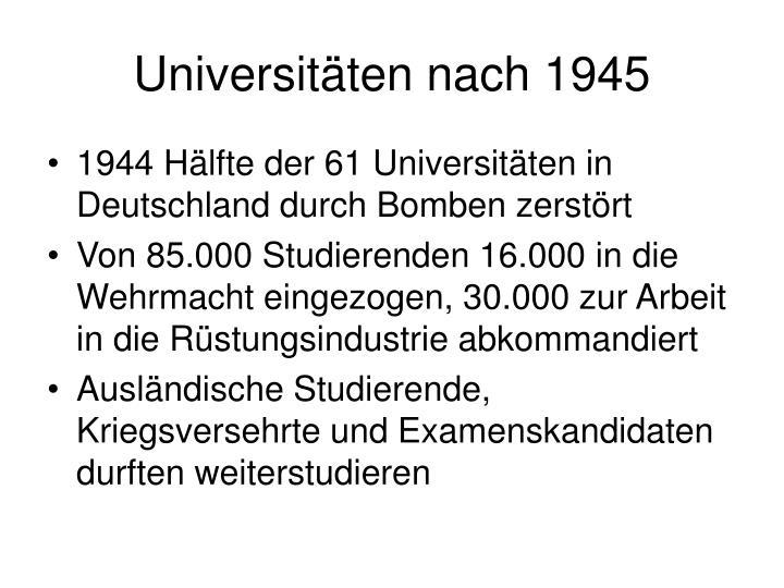 Universitäten nach 1945