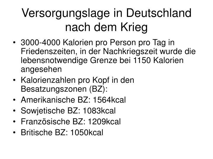 Versorgungslage in Deutschland nach dem Krieg