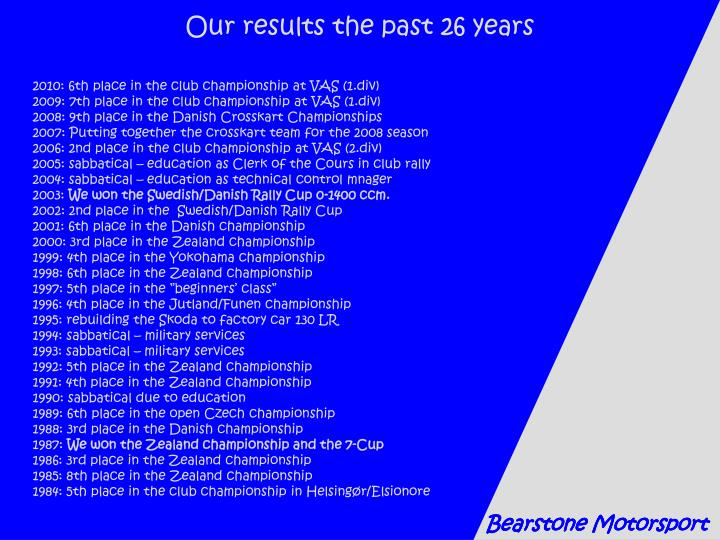 Our results the past 26 years