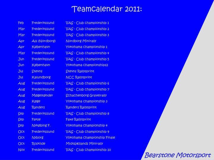 Teamcalendar 2011: