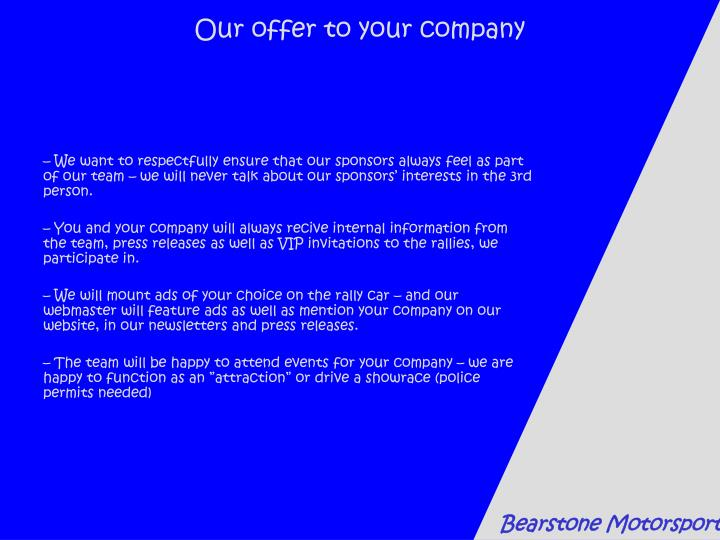 Our offer to your company