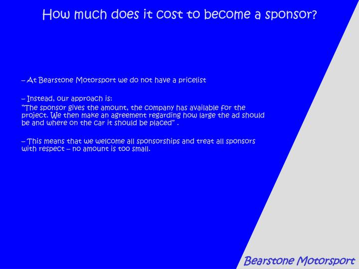 How much does it cost to become a sponsor?