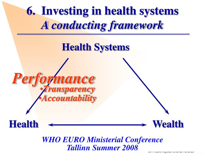 6.  Investing in health systems