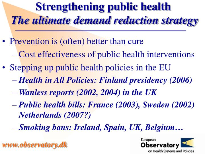 Strengthening public health