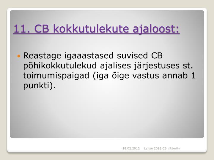 Reastage igaaastased suvised CB põhikokkutulekud ajalises järjestuses st. toimumispaigad (iga õige vastus annab 1 punkti).