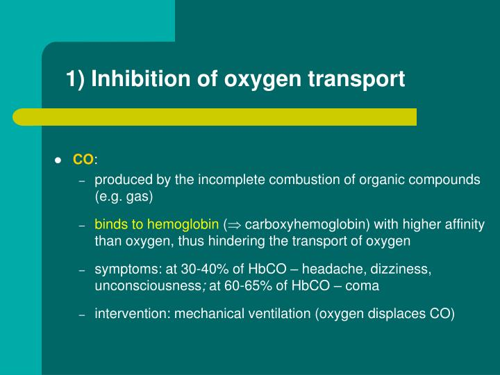 1) Inhibition of oxygen transport