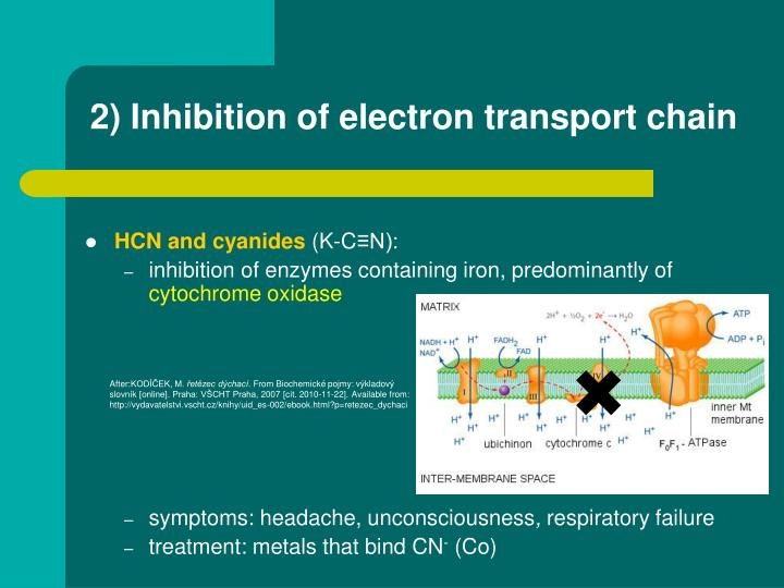 2) Inhibition of electron transport chain