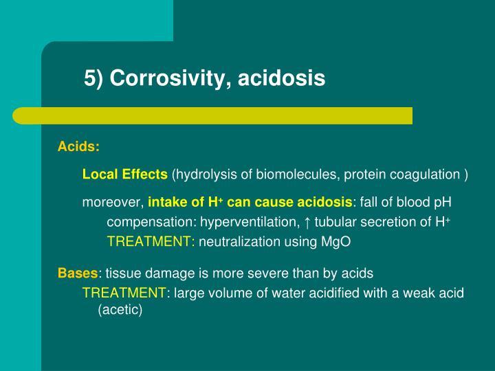 5) Corrosivity, acidosis