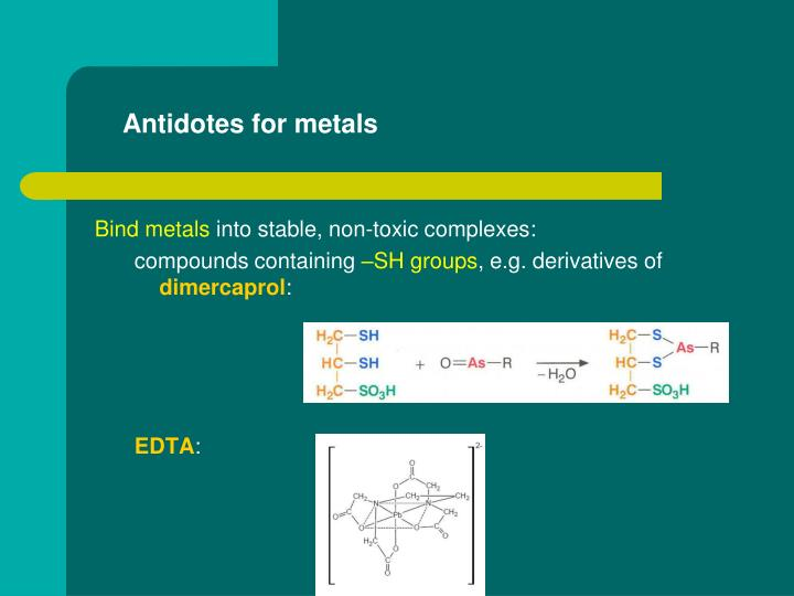 Antidotes for metals