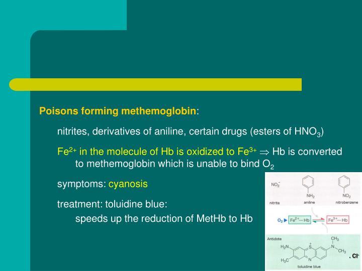 Poisons forming methemoglobin