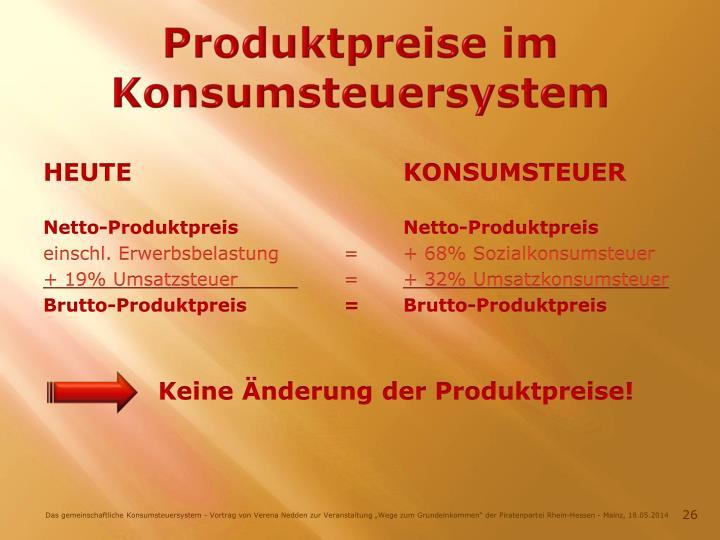 Produktpreise im Konsumsteuersystem