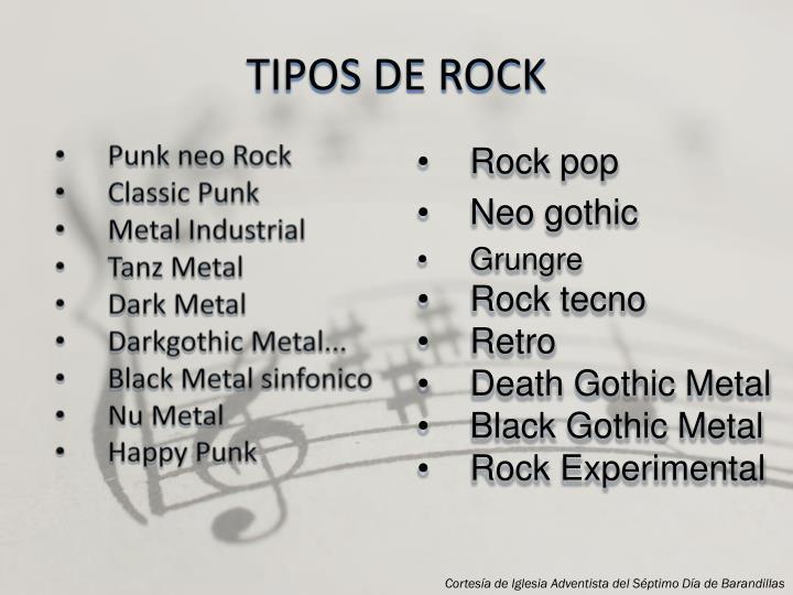 TIPOS DE ROCK
