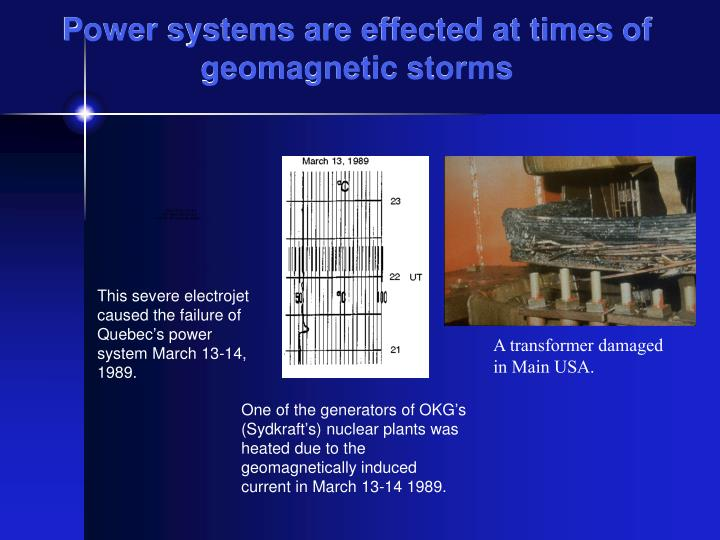 Power systems are effected at times of geomagnetic storms