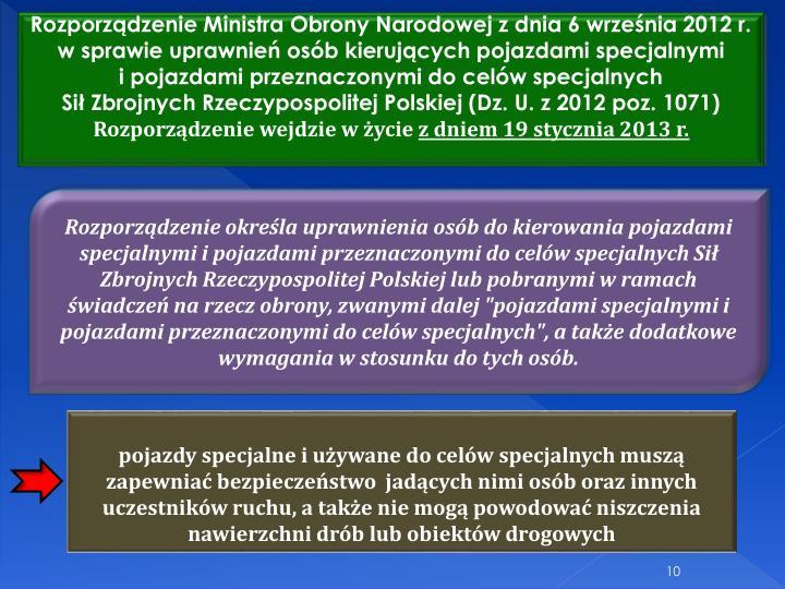 Rozporzdzenie Ministra Obrony Narodowej z dnia 6 wrzenia 2012 r.