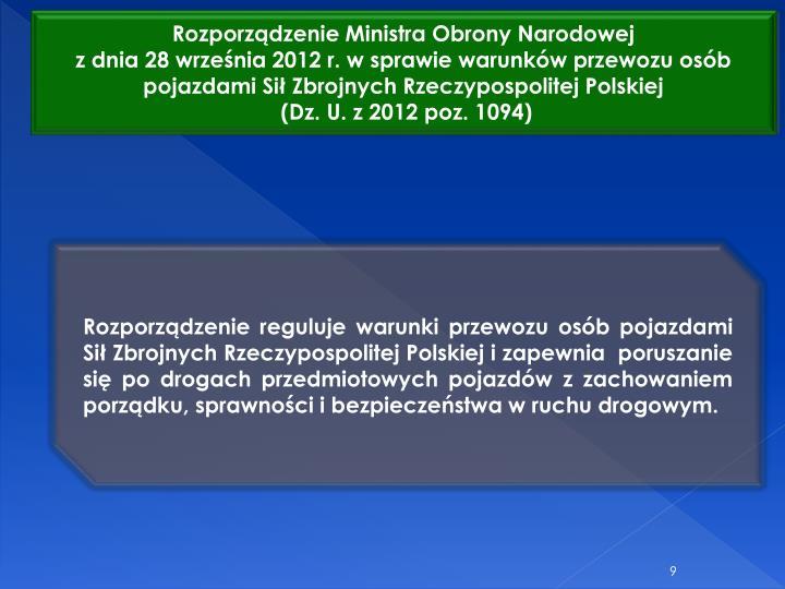 Rozporzdzenie Ministra Obrony Narodowej