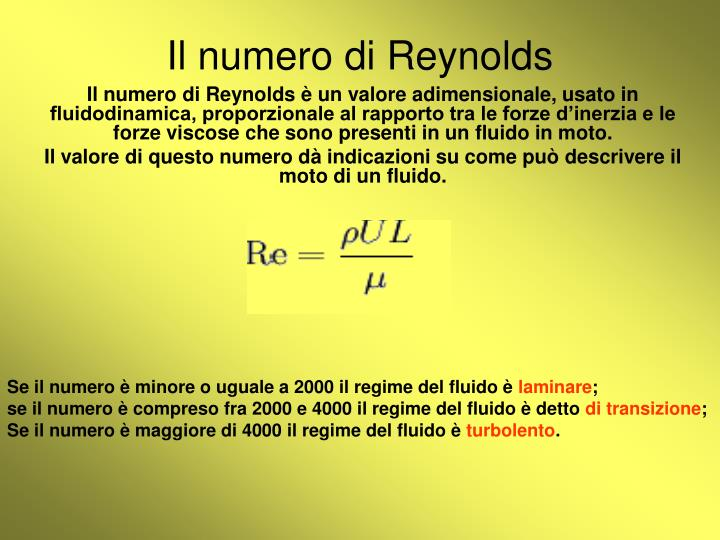 Il numero di Reynolds