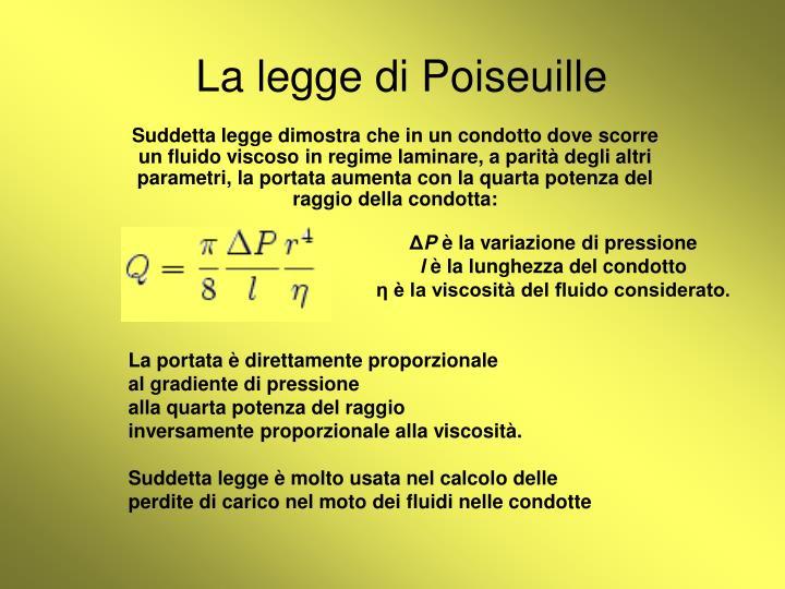 La legge di Poiseuille