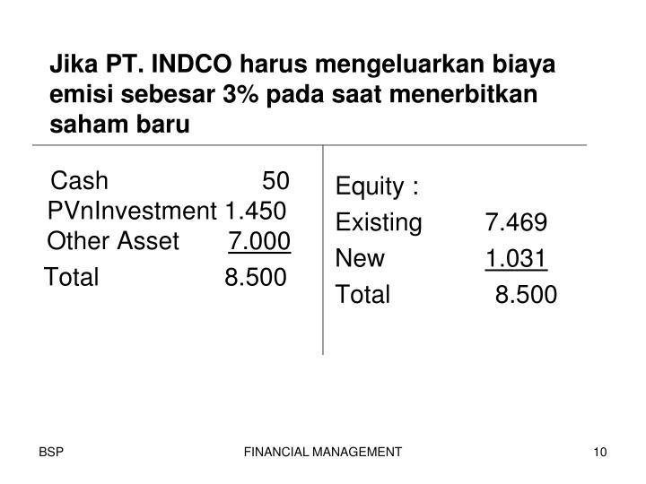 Jika PT. INDCO harus mengeluarkan biaya emisi sebesar 3% pada saat menerbitkan saham baru