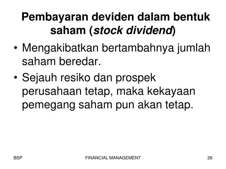 Pembayaran deviden dalam bentuk saham (