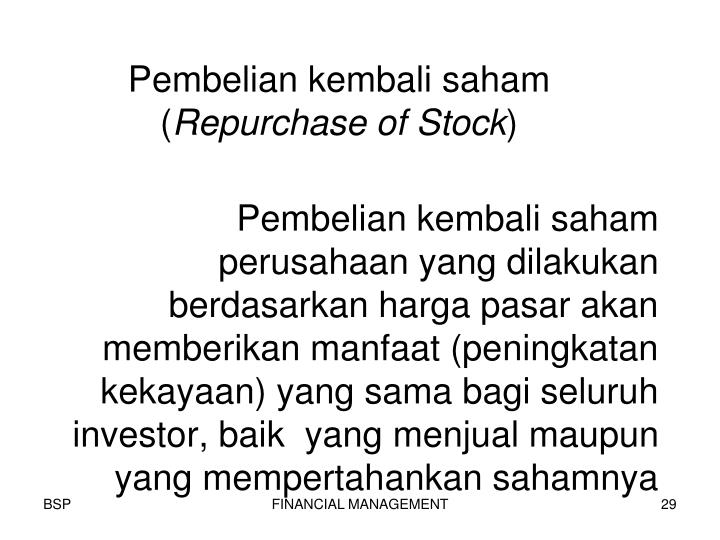 Pembelian kembali saham