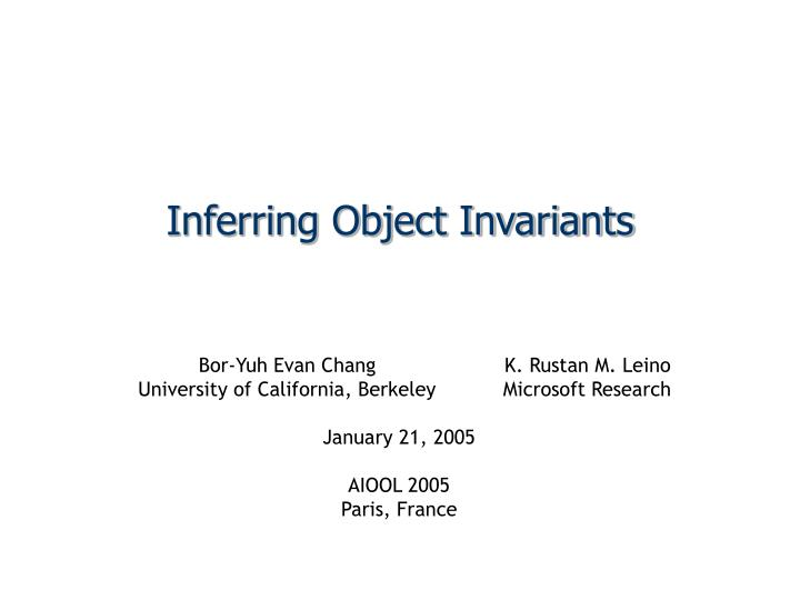 Inferring object invariants
